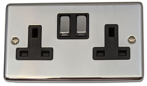 G&H CC310 Standard Plate Polished Chrome 2 Gang Double 13A Switched Plug Socket